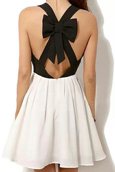 ROMWE Crossed Self-tie Bowknot Color Block Dress   click image to get this! x