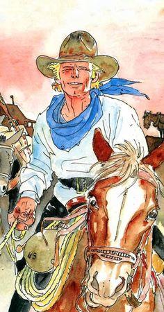 Jean Giraud, Ken Parker, Serpieri, Morris, Le Far West, Storyboard, Cowboys, Princess Zelda, Watercolor
