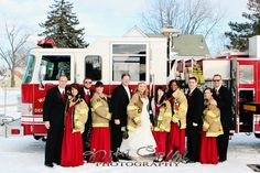gorgeous bridal party + a cold, snowy winter day + a trip to the local fire department =  an amazing wedding day!   www.nikicollisphotography.com