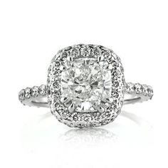 3.24ct Cushion Cut Diamond Engagement Anniversary Ring available at MarkBroumand.com!