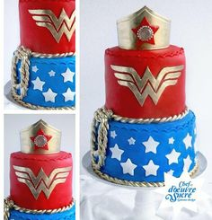 Wonder Woman cake Cake by Chefdoeuvresucre Beautiful-- want this for my Birthday someday! Wonder Woman Cake, Wonder Woman Birthday, Wonder Woman Party, Birthday Woman, Twin Birthday, Pretty Cakes, Cute Cakes, Beautiful Cakes, Amazing Cakes