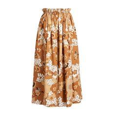 Chloé Floral-print maxi skirt (€990) ❤ liked on Polyvore featuring skirts, brown print, floral print maxi skirt, floral print long skirt, frilly skirt, ankle length skirts and long skirts