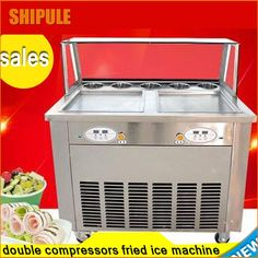 1708.20$  Buy here - http://aliton.shopchina.info/go.php?t=32698320914 - new digital double compressor double square pan with 5 toppings fry ice machine fried ice cream machine  ice pan making machine   #magazineonline