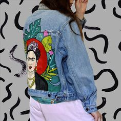 Frida Kahlo hand painted denim jacket, painted clothing