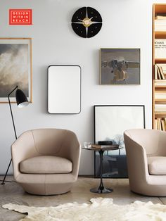 U-Turn Swivel Chair, Panama Leather   In Collaboration with DWR Pins