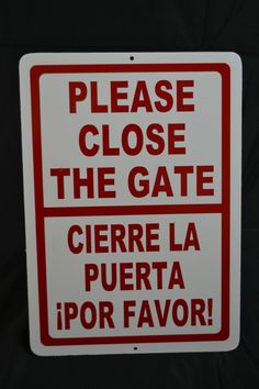 Bilingual Please Close the Gate Sign CLEARANCE Scratch & Dent Sign Storefront Signs, Scratch And Dent, Store Signs, New Sign, Signage, Gate, Banner, Decals, Campaign