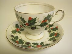 Royal Tuscan fine bone china, Tea Cup and Saucer, England, Noel pattern