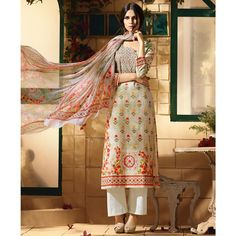 Rs.4642, Buy Online Cotton Beige Printed Semi Stitched Pant Style Suit - R1182 - Real Saree - Reviews - Indiarush