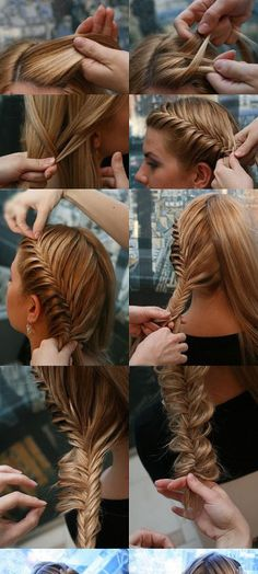 French braid into a fishtail braid, ending in a perfect bun. 10 points from the UK