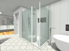 You will often see a freestanding bathtub and a shower with glass enclosure in a contemporary bathroom! Contemporary Style Bathrooms, Freestanding Bathtub, Bathroom Styling, Minimalism, Homes, Bed, Glass, Freestanding Tub, Houses