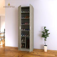 Ντουλάπα-Παπουτσοθήκη CITY4036, 59x37x181 Xρώμα Sonoma.  Από την Alphab2b.gr Shoe Rack, Tall Cabinet Storage, Bookcase, Shelves, Furniture, Home Decor, Products, Shelving, Decoration Home