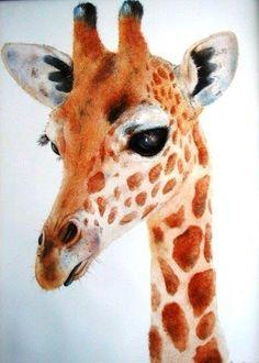 Giraffe hand painted on china by Mark Jones