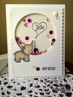 Coralynn here with a shaker card for you today. Kids Birthday Cards, Handmade Birthday Cards, Greeting Cards Handmade, Birthday Images, Birthday Quotes, Acetate Cards, Karten Diy, Slider Cards, Cool Cards