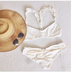 the most delightful white bikini with ruffle straps by boys + arrows