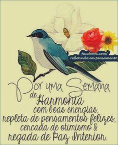 Boa noite!! Uma semana cercada de otimismo e muita paz interior!