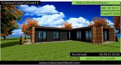 Plan et photo maison plain pied en L ou plein pied en rez de chaussee rdc par votre architecte constructeur ossature bois | www.maisonsarchiforet.com