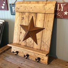 Handmade Distressed Wood Barn Star Wall Mount Coat Rack with Shelf and Cast Iron Hooks, 5 Finishes Western Decor, Country Decor, Rustic Decor, Farmhouse Decor, Branch Decor, Wall Decor, Washboard Decor, Patriotic Bedroom, Barn Wood Crafts