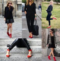 Total black y zapatos rojos