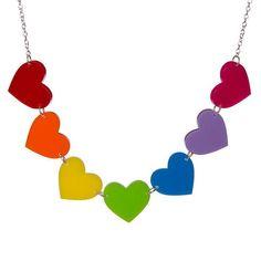 Rainbow Hearts necklace  laser cut acrylic by sugarandvicedesigns, £15.00