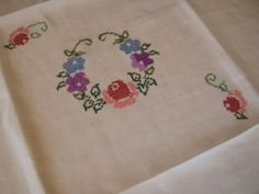Vintage 1930s 1940s Square Linen Tablecloth Hand Cross Stitch Embroidery - The Gatherings Antique Vintage