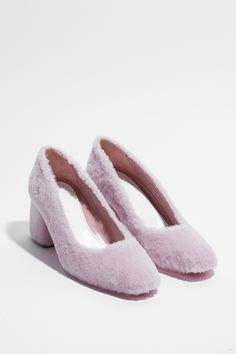Amélie Pichard Bb shoes in pink shearling. Shop now on Style.com