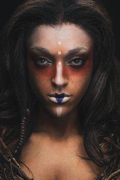 Maybe something like this but with glitter & pastel colors! Michael Wessel - Whitney Nicole - makeup stylist Maya Baglien - Tribal-Evolution of A Concept Sfx Makeup, Costume Makeup, Hair Makeup, Voodoo Makeup, Tribal Face Paints, Tribal Makeup, Dark Beauty Magazine, Make Up Art, Fantasy Makeup
