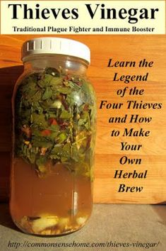 Natural Remedies Thieves Vinegar - Herbal remedy historically used to fight the Plague, these recipes use antiviral and antibacterial herbs to boost immunity and fight germs - Natural Health Remedies, Natural Cures, Natural Healing, Herbal Remedies, Natural Treatments, Natural Foods, Holistic Remedies, Cold Remedies, Holistic Healing