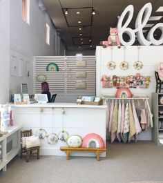 Our flagship store in the Virginia Highlands is a sunny spot where we get to create our little Blabla World. We've recently spruced it up a bit by taking out a wall and adding a new checkout … Boutique Store Displays, Boutique Decor, Boutique Interior, Children's Boutique, Clothing Store Interior, Clothing Store Design, Hip Hip, Kids Store Display, Showroom Design