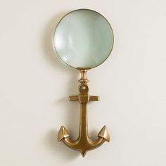Complement your nautical theme with our Brass Anchor Magnifying Glass. A perfect accent for the desktop, it also works as a genuine magnifying glass.