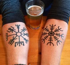 Vegvisir and aegishjalmur. Incorporate white ink versions into my flurry of snowflakes tattoo idea.