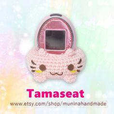 Sakura pink cat : Tamaseat/ Tamagotchi cradle/ Tamagotchi stand by Muninahandmade on Etsy