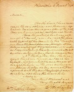 A letter from George Washington to Angelica Schuyler Church, Alexander Hamilton's sister-in-law.