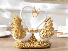 Swan Heart Sculpture - Gold, Silver or Bronze
