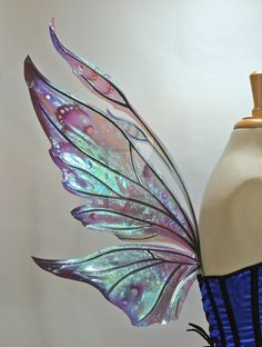 """Hand painted fairy wings, """"Kira"""" style. Lime, forest green, blue and black on iridescent film over an aluminum frame. *Please note, my wing photos are © Fancy Fairy and Angela Jarman. They are NOT ..."""