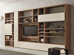 Módulo de arrumação de parede de nogueira com suporte para TV SPEED H by Dall'Agnese design Imago Design, Massimo Rosa
