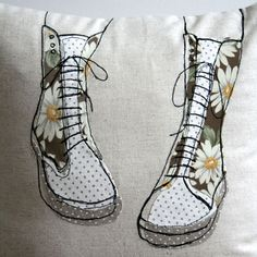 What I Always Wanted | Appliqued cushion in 100% linen - cute boot design.
