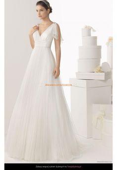 Robe de Mariée Empire col V avec bretelles perlées 2016