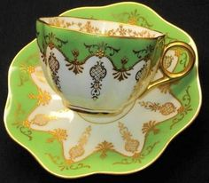 Antique Coalport England Jewel Gold Lime Green Rich Tea Cup and Saucer