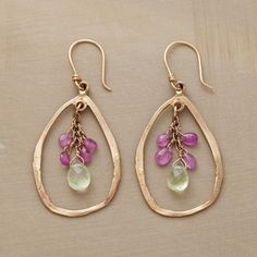 """SIGNS OF SPRING EARRINGS -- Within Jes MaHarry's 14kt gold hoops, pink sapphires atop fresh-as-spring prehnites stand in for roses still in bud. French wires. Exclusive. Handcrafted in USA. 1-3/4""""L."""