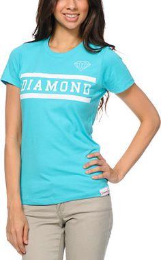 Diamond Supply Girls Collegiate Turquoise Tee Shirt at Zumiez : PDP