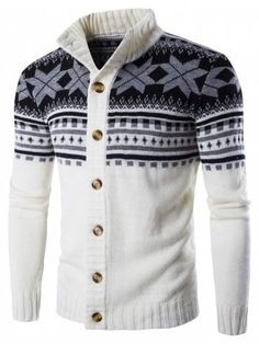 MK988 Men Slim Fit Knitted Autumn Winter Floral Printing Crewneck Pullover Sweaters