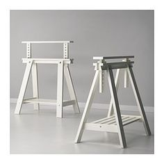 FINNVARD Trestle with shelf - white - IKEA