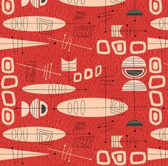 Mid-Century Modern Fabric Mid-Century Atomic In by Spoonflower