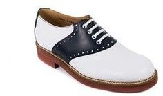 Church's Calzature Womens Navy White Leather Saddle Oxfords.