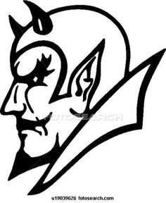 Mascot Clipart Image of A Devils Mascot Head In Black And White ...