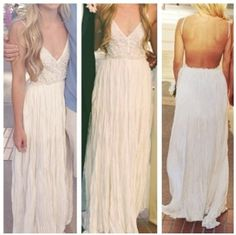 dress, white dress, prom, prom dress, open dress, open back, open backed dress, long dress, white - Wheretoget