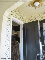 Designer Look or Entry Way or Foyer - Animal Print Cheetah Leapord Spots Wall Stencil Painted in Mudroom, Foyer, Entry - Royal Design Studio Stencil Painting On Walls, Stenciling Walls, Animal Print Decor, Modern Foyer, Moroccan Lamp, Entry Foyer, Entry Closet, Front Entry, Closet Doors