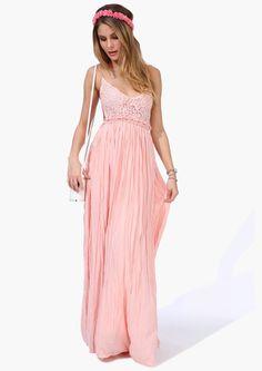Vestido plisado correa de espagueti bordado-rosado