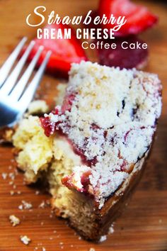 Fresh Strawberry Cream Cheese Coffee Cake | Carlsbad Cravings  CRAZY GOOD!  Buttery, moist coffee cake, layered with velvety cream cheese, fresh sweet strawberry jam and buttery sugar crumb topping.  This would be so perfect for BRUNCH!