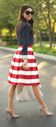 4719c5eb45f5 #street #style fourth of july red white and blue @wachabuy Tall Women  Fashion